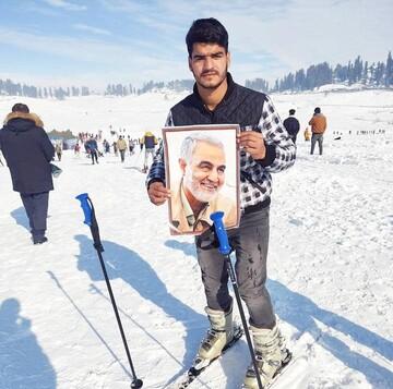 قلههای یخ زده کشمیر میزبان تصویر سردار سلیمانی شد