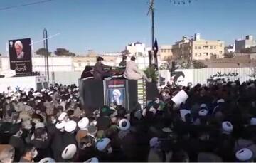 فیلم   تشییع پیکر آیت الله مصباح یزدی توسط مردم انقلابی قم