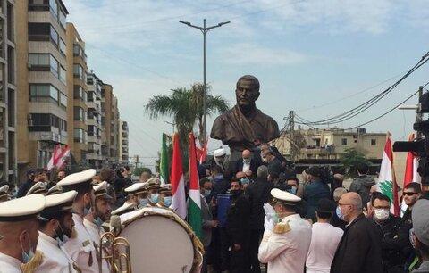رونمایی از تندیس یادبود شهید سردار سلیمانی در ضاحیه جنوبی لبنان
