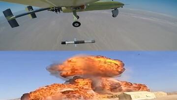 شلیک موشک الماس از پهپاد ابابیل و انهدام اهداف سطحی