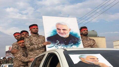 رژه نظامی در شهرک نبل و الزهرا به مناسبت شهادت فرماندهان مقاومت