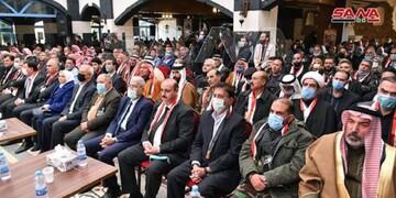 مراسم بزرگداشت شهیدان سلیمانی و المهندس در حومه دمشق برگزار شد +تصاویر