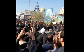 فیلم | پخش سرود جمهوری اسلامی ایران در شروع مراسم بزرگداشت سردار سلیمانی و ابومهدی المهندس در بصره