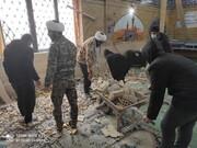 فیلم | طلاب جهادی پای کار خدمترسانی به مردم زلزله زده سیسخت