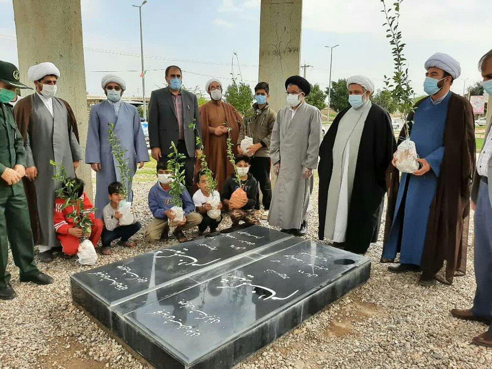 تصاویر/ شرکت طلاب و روحانیون جهادی ایلام در طرح درخت کاری به نیت اموات کرونایی