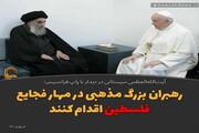 عکس نوشت | رهبران بزرگ مذهبی در مهار فجایع فلسطین اقدام کنند