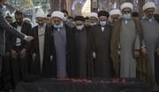 تشییع پیکر آیت الله مرعشی و اقامه نماز در حرم امام حسین (ع)+ تصاویر