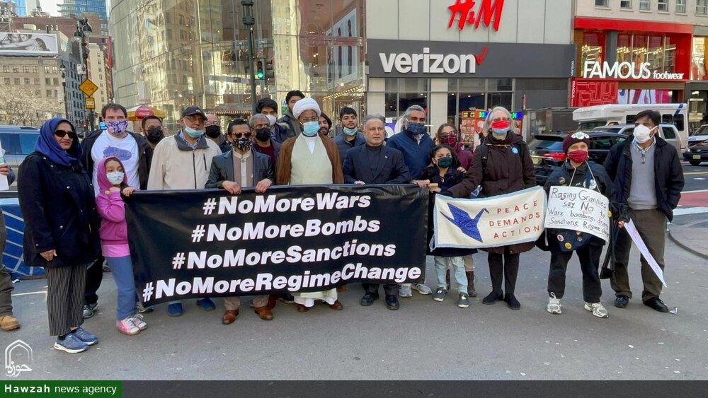 تصاویر/ نیویارک میں کمزور قوتوں اور ممالک پر بمباری و جنگوں اور سینکشنز کے خلاف احتجاجی ریلی