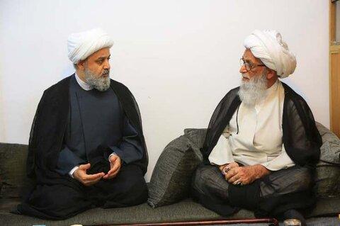 استقبل سماحة المرجع الديني الشيخ بشير النجفي، الأمين العام للمجمع العالمي للتقريب بين المذاهب الإِسلامية الدكتور حميد شهرياري