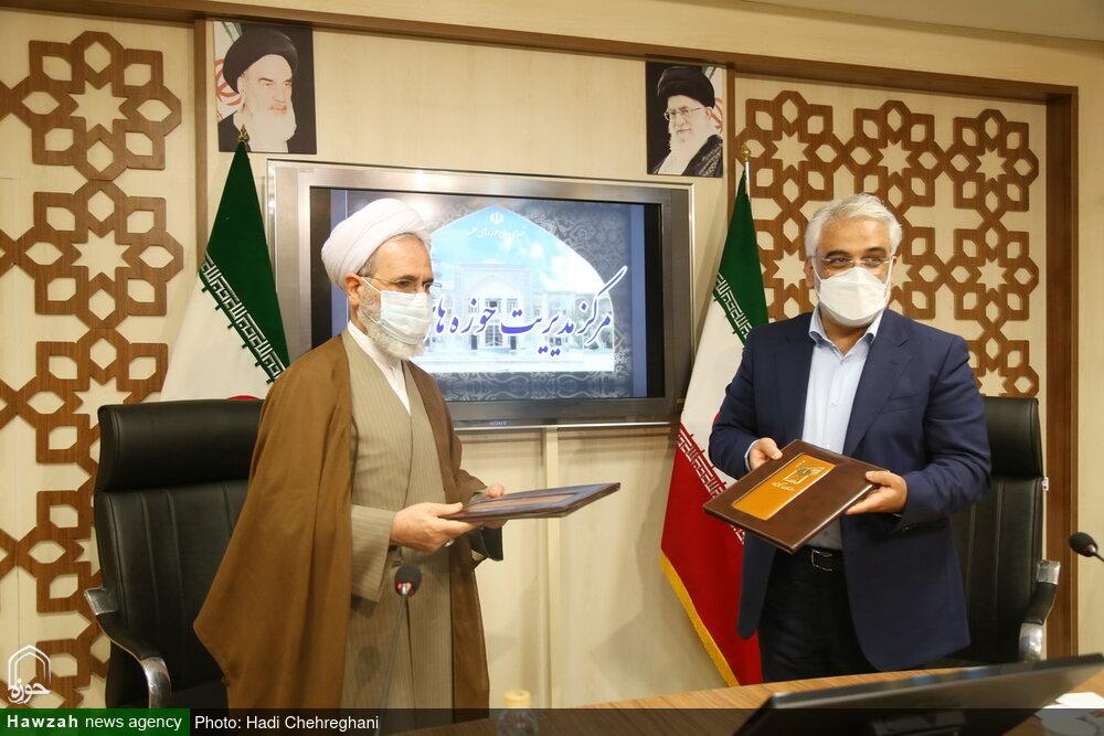 تصاویر/ حوزہ علمیہ ایران اور دانشگاہ اسلامی کے درمیان مفاہمت پر دستخط