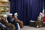 تصاویر/ دیدار مدیر مدرسه علمیه آیت الله بهجت قم با آیت الله اعرافی