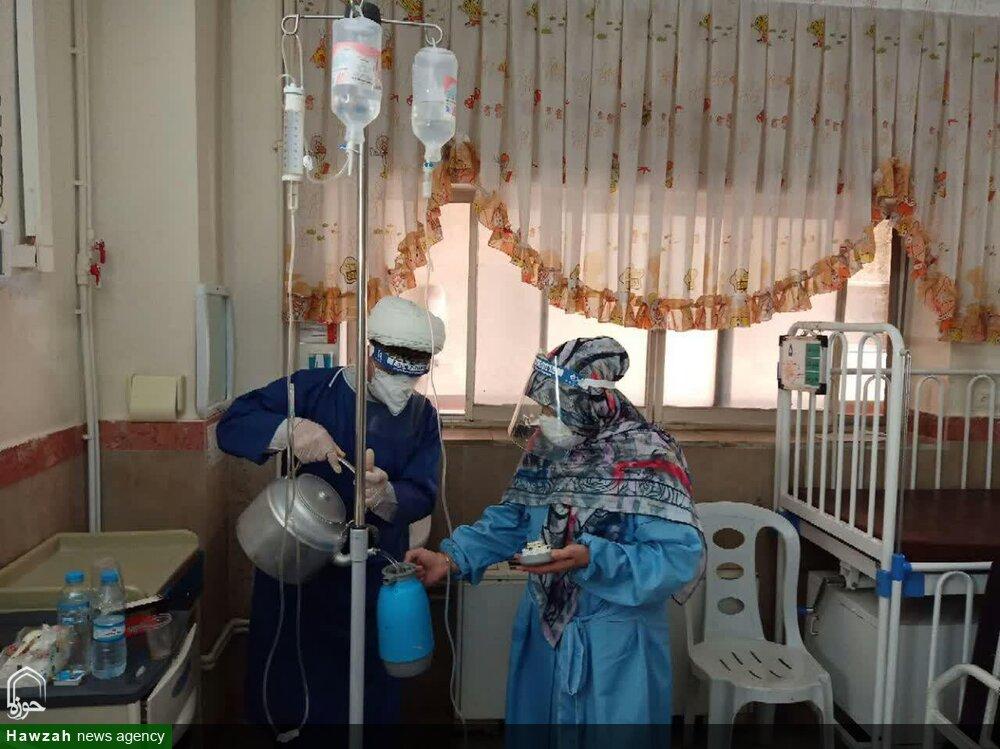 خدمت شبانه روزی طلاب جهادی شهرستان رزن به بیماران کرونایی + عکس