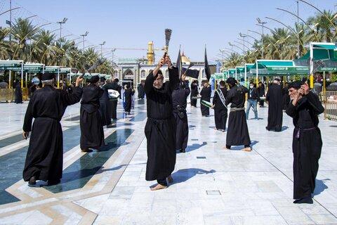 حضور دسته های عزاداری شهادت مولا علی(ع) در حرم حضرت ابوالفضل العباس (ع)