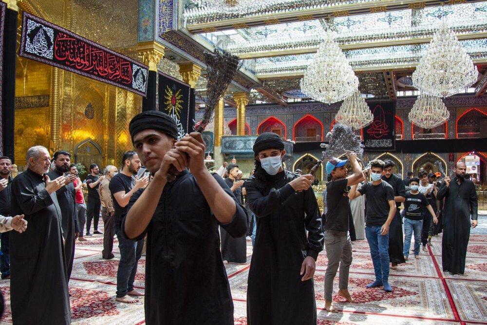 تصاویر/ حضور دسته های عزاداری در حرم حضرت ابوالفضل العباس(ع)