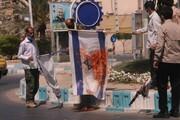 پرچم آمریکا و اسرائیل در میدان قدس بوشهر به آتش کشیده شد