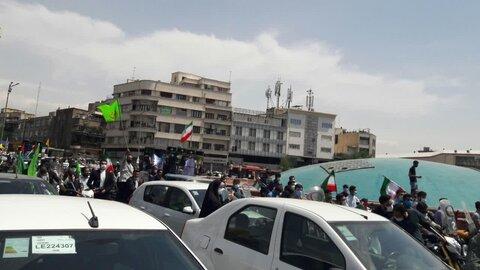 راهپیمایی خودجوش و آتش به اختیار مردم روزه دار و انقلابی مردم تهران در روز قدس