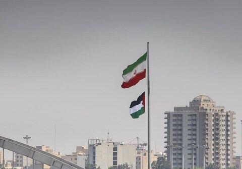 اهتزاز پرچم فلسطین در اهواز