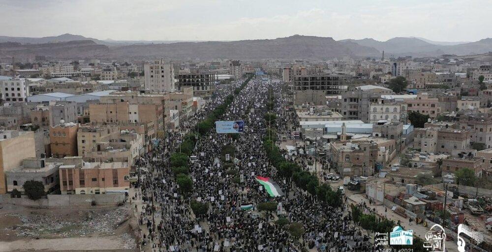 حضور صدها هزار یمنی در راهپیمایی روز جهانی قدس + تصاویر