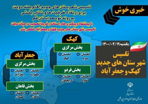 شهرستان های جدید کهک و جعفرآباد