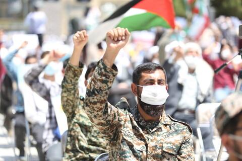 تصاویر/ تجمع طلاب و روحانیون حوزه در حمایت از ملت مظلوم فلسطین و محکومیت حادثه تروریستی افغانستان