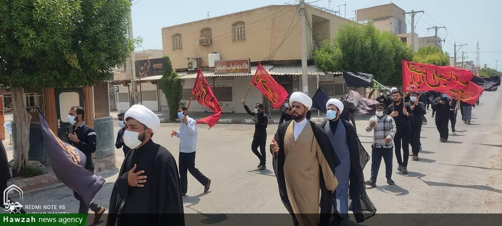 تصاویر/ دسته عزاداری طلاب بندرلنگه در سوگ امام جعفر صادق(ع)