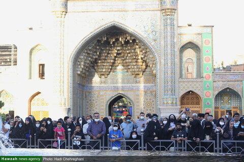 بالصور/ مراسيم استبدال راية حرم السيدة فاطمة المعصومة عليها السلام بقم المقدسة