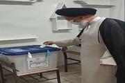آیت الله مدرسی رأی خود را به صندوق انداخت