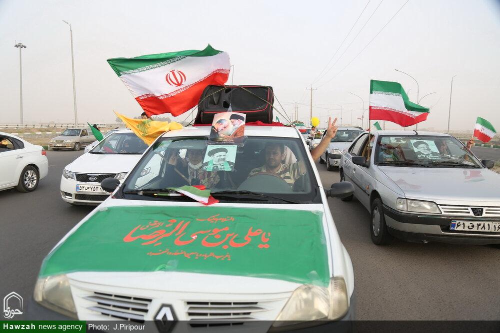تصاویر/ کاروان خودرویی جشن انتخابات در قم
