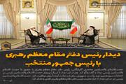عکس نوشت   دیدار رئیس دفتر مقام معظم رهبری با رئیس جمهور منتخب