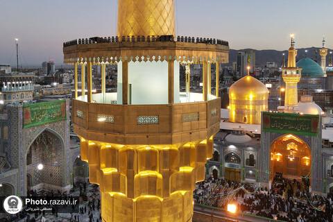 حضرت امام رضا (ع) کی ولادت کے موقع پر حرم مطہر کی فضا سے لی گئیں خوبصورت تصاویر