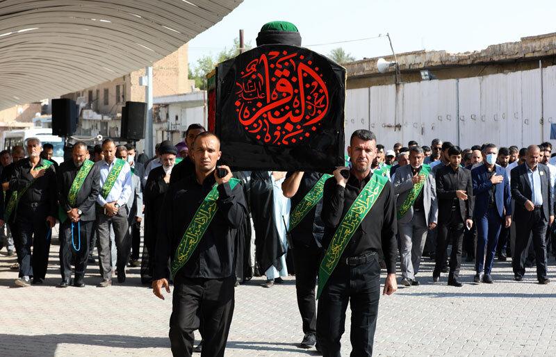 تصاویر/ تشییع نمادین پیکر امام باقر (ع) در حرم امامین عسکریین (ع) در سامرا
