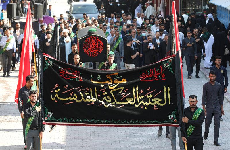 بالصور/ العتبة العسكرية المقدسة تقيم مراسيم التشييع الرمزي لنعش الامام محمد بن علي الباقر(ع)