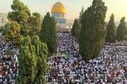 حضور صد هزار نفر در نماز عید قربان مسجدالاقصی + عکس و فیلم