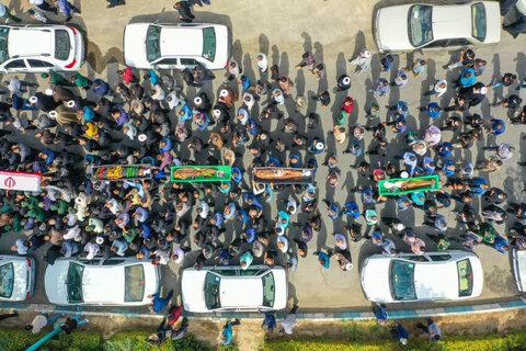 (2)تصاویر| حضور طلاب و روحانیون یزدی در مراسم تشییع استاد فرج نژاد
