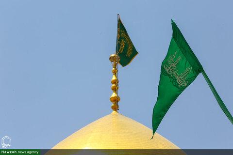 بالصور/ حرم السيدة المعصومة بنت الإمام الكاظم (ع) يزدان بكسوة خضراء استقبالا لعيد الغدير الأغر