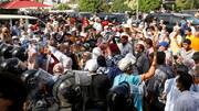 درگیری طرفداران رئیس جمهور تونس و جنبش النهضه در مقابل پارلمان