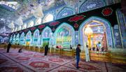 الصور/ شاهد اعمال نشر السواد في مرقد الامام الحسين (ع) ايذانا بحلول شهر الاحزان محرم الحرام