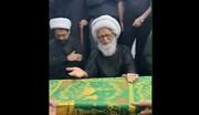 فیلم | حضور آیت الله العظمی بشیر نجفی در کنار پیکر مرحوم آیت الله العظمی سید محمدسعید حکیم