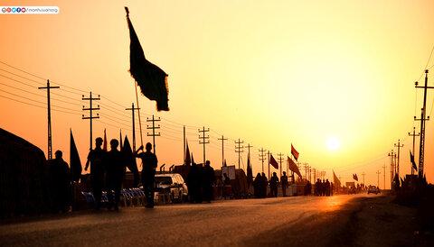 حرکت زائران اربعین از دور ترین نقطه مرز های عراق به سمت کربلا