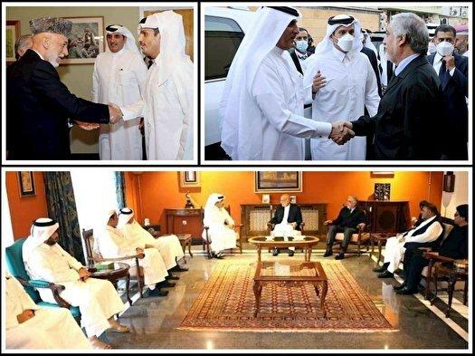 عبداللہ عبداللہ اور حامد کرزئی کی قطری وزیر خارجہ سے کابل میں ملاقات