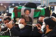 بالصور/ مراسيم تشييع جثمان الفقيد آية الله مير فخر الدين الموسوي ننه كران بقم المقدسة