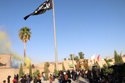 تصاویر/ اهتزاز پرچم عزای حسینی در بین الحرمین شیراز