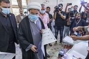 فیلم/ حضور شیخ عبدالمهدی کربلایی نماینده آیت الله سیستانی در پای صندوق رأی عراق