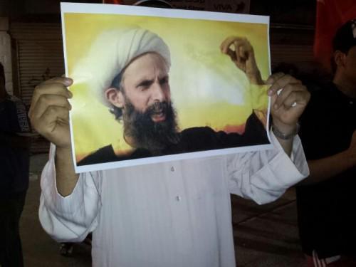 صورة للشيخ النمر احتجاجاً على إعدامه
