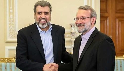رئيس مجلس الشورى الاسلامي علي لاريجاني لدى استقباله الامين العام لحركة الجهاد الاسلامي في فلسطين، رمضان عبد الله شلح