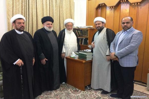 زار  السيد علي عبد اللطيف فضل الله المرجع الديني آية الله الشيخ اسحق الفياض