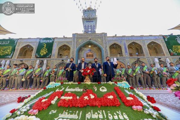 منتسبو العتبة العلوية يحيون مناسبة مولد الإمام المنتظر(ع) في باحة الصحن العلوي المطهر