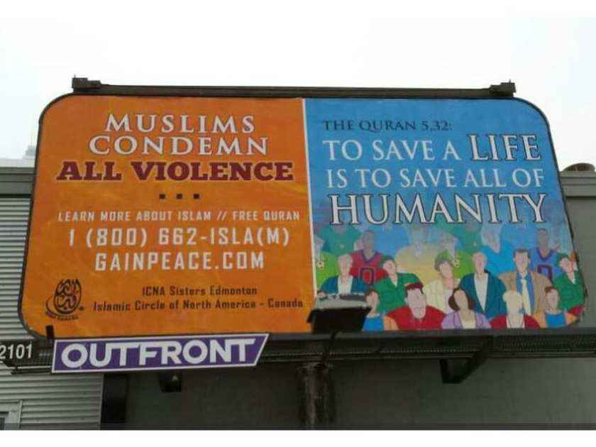 Muslim women's group puts up billboard that condemns violence