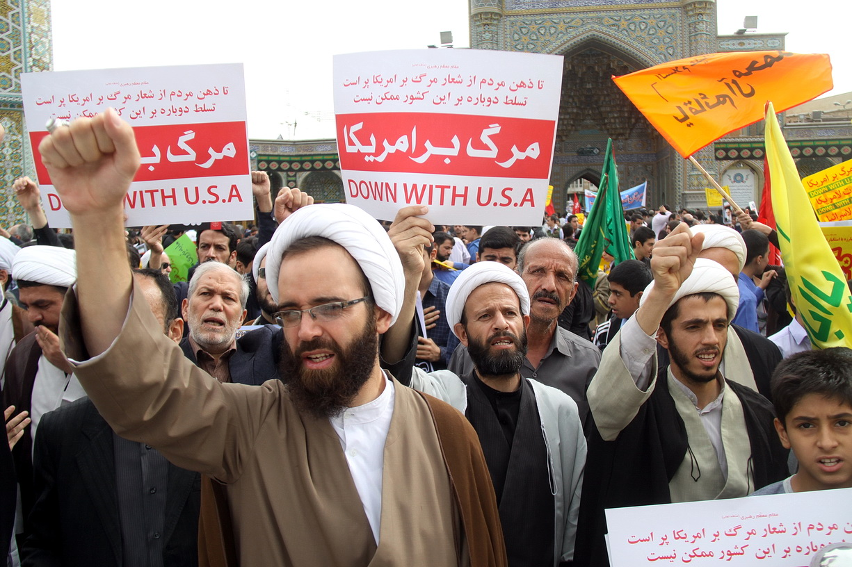 """Slogans of """" Hayhat minna al-dhilla"""" and """"death to America"""" echoed in streets of Iran"""
