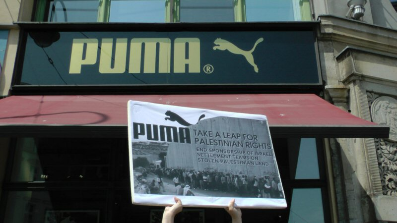 International campaign to Boycott Puma speaks out in cities around the world